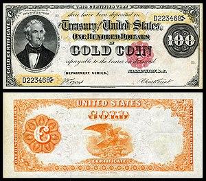 Gold certificate - $100 1882 gold certificate depicting Thomas Hart Benton