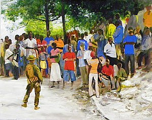 American official war artists - Rice distribution at Carrefour in Haiti after the earthquake in 2010. Oil sketch by Sgt. Kristopher Battles, USMC