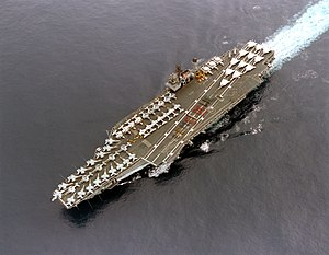 600-ship Navy - Image: USS Constellation (CV 64) aerial Battle E