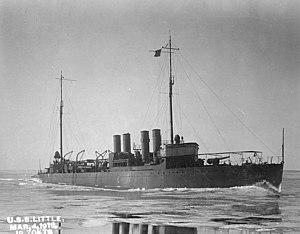 USS Little (DD-79) - USS Little (DD-79), running trials in icy waters, 4 March 1918.