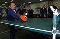 US Navy 050623-N-9866B-023 Disbursing Clerk 1st Class Roel Edralin concentrates as he hits a ping-pong ball.jpg