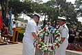 US Navy 070517-N-8102J-083 Former USS Stark (FFG 31) Sailors, Capt. Matthew Schellhorn, chief of staff, Navy Region Southeast, and Chief Intelligence Specialist Chris Ryden take part in a wreath laying during a memorial ceremon.jpg