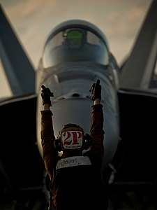 US Navy 111221-N-DR144-167 Aviation Electrician's Mate Airman Seth Orourke, a plane captain assigned to Strike Fighter Squadron (VFA) 81.jpg