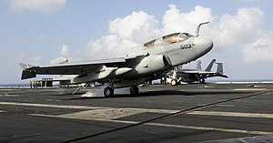 US Navy 111222-N-RG587-040 An E-A-6B Prowler assigned to Electronic Attack Squadron (VAQ) 134 makes an arrested landing on the flight deck aboard t.jpg