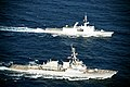 US Stout (DDG-55) and French frigate Surcouf (F711) underway in 2014.JPG