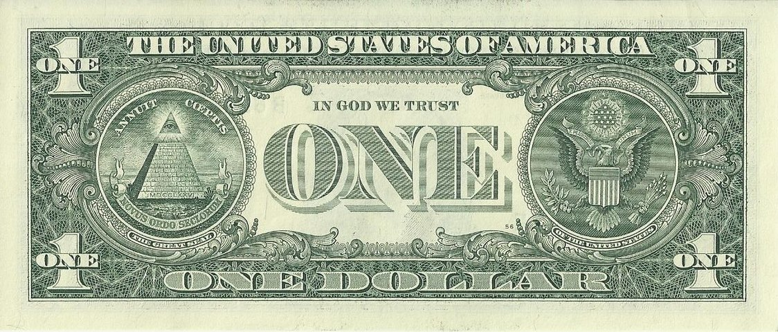 "United States one-dollar bill, reverse, series 2009 with ""  IN GOD WE TRUST  "" motto"