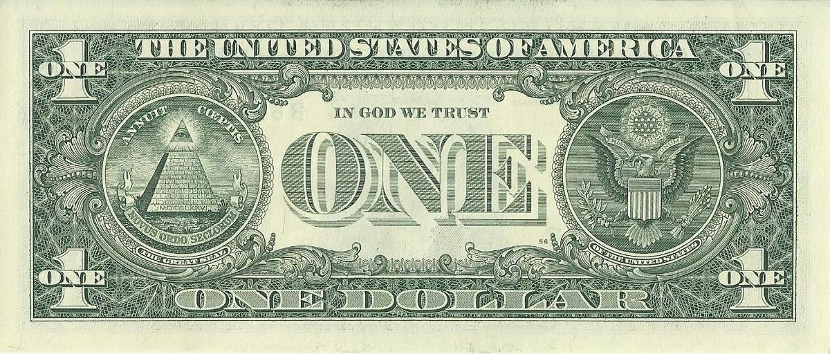US one dollar bill reverse series 2009jpg