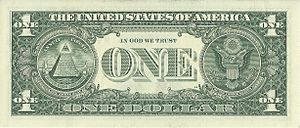 US one dollar bill, reverse, series 2009.jpg