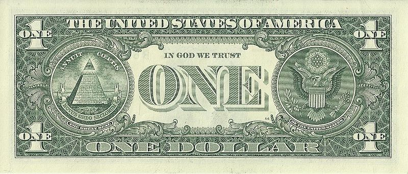 ไฟล์:US one dollar bill, reverse, series 2009.jpg