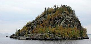 Ukonkivi island in Lake Inari on the island of Ukonsaari