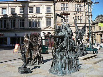 Westgate Hotel - Union, Prudence, Energy - the sculpture outside The Westgate Hotel commemorating the Chartist Movement and Newport Rising 1839.
