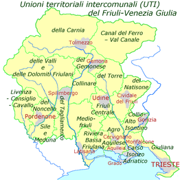 unioni territoriali intercomunali (intercommunaalverbanden), vervangen sinds 2018 de provincies