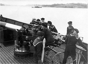 102mm 60 caliber Pattern 1911 - A 102mm gun aboard the Finnish gunboat Uusimaa.