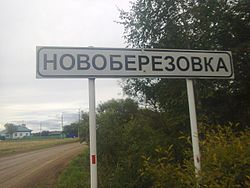 Entrance to village Novoberezovka, Aromashevsky District