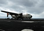 VRC-40 C-2A Greyhound landing on USS George Washington (CVN-73) 160416-N-VH385-088.jpg