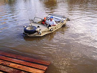 Volkswagen Schwimmwagen - A Schwimmwagen, preserved in Brazil, being demonstrated (2004)