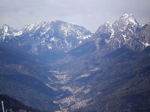 the town is situated in the Paserina Valley Val Pesarina.JPG