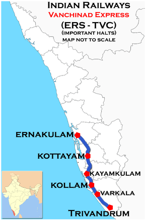 Vanchinad Express (Ernakulam – Trivandrum) route map
