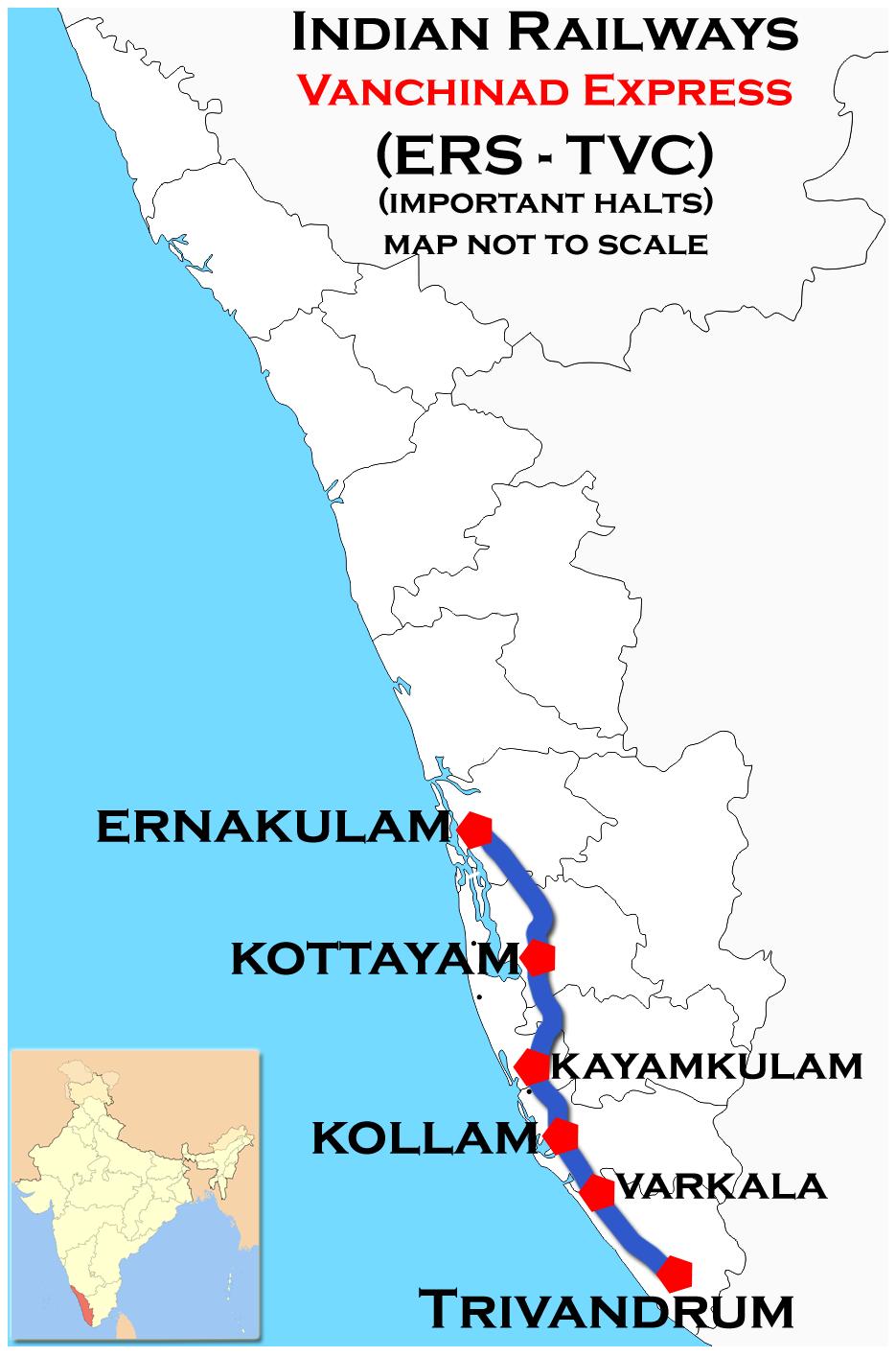 Vanchinad Express (Ernakulam – Trivandrum) route map