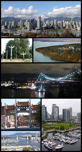 Vancouver - Clockwise from top: Downtown Vancouver as seen from the southern shore of False Creek, The University of British Columbia, Lions Gate Bridge, a view from the Granville Street Bridge, Burrard Bridge, The Millennium Gate (Chinatown), and totem poles in Stanley Park