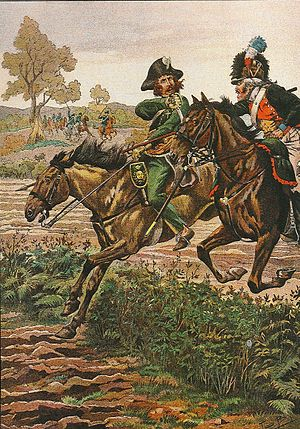 Germanic Legion - Piquier of the Germanic Legion (right) with lance, fighting against Vendée loyalist cavalryman