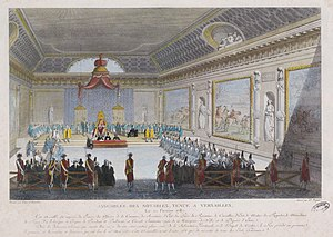 Assembly of Notables - Engraving showing the Assembly of Notables of 1787 in Versailles