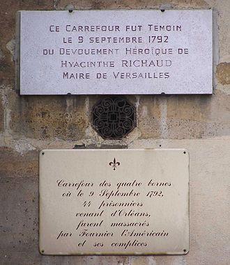 9 September massacres - Plaque in the carrefour des Quatre-Bornes Fournier l'Américain is here formally accused !