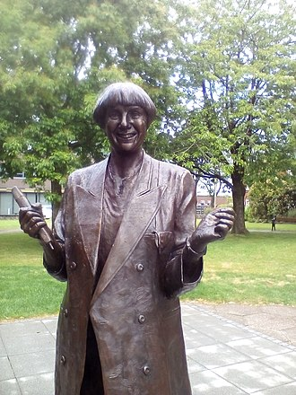 Statue of Victoria Wood, in Library Gardens Victoria Wood's Statue.jpg