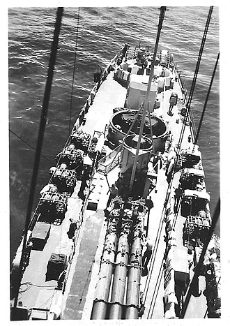Rudderow-class destroyer escort - Image: View aft from mast of USS Chafee (DE 230)
