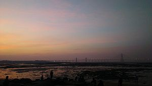 Bandra–Worli Sea Link - Sunset View of Bandra Worli Sealink from Dadar Chowpatty spanning over Mahim Bay