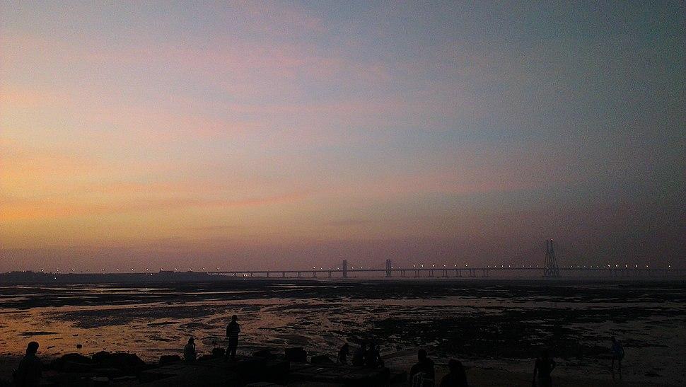 View of Bandra Worli Sealink from Dadar Chowpatty At Sunset