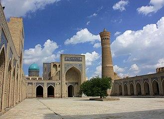 Po-i-Kalyan - Courtyard at Po-i-Kalyan, with the madrasa and minaret.