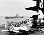 View of the flight deck of USS Ranger (CVA-61) in the South China Sea, 24 March 1965 (USN 1110187-C).jpg