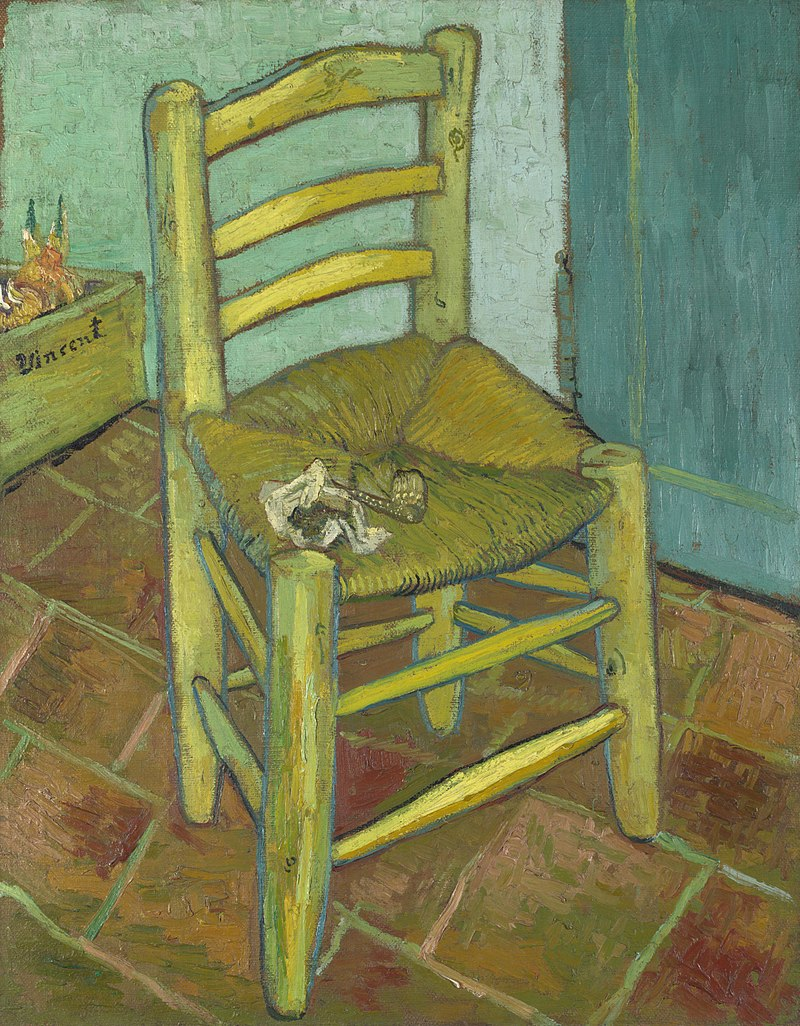 A single, simple, yellow, wooden and straw, armless, empty chair, with a pipe and tobacco on the seat, in an empty room with tiles on the floor.