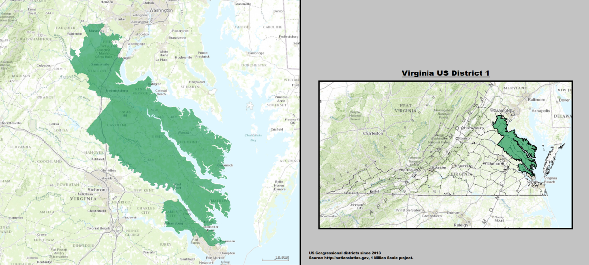 Virginias St Congressional District Wikipedia - Virginia on a us map