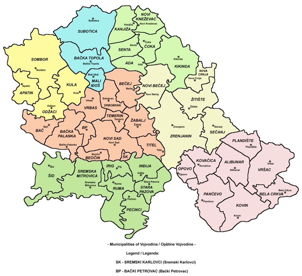 Vojvodina municipalities map
