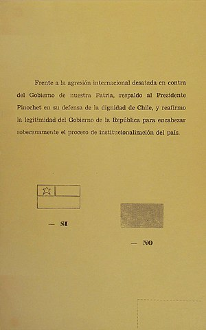 Chilean national consultation, 1978 - Ballot used in the consultation.