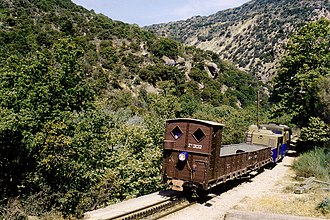 Vouraikos - Train in the gorge.