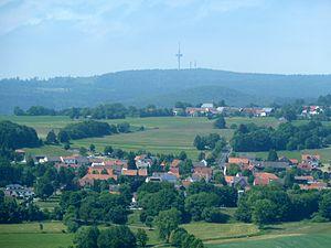 View over Hartmannshain (in front) and Herchenhain northwest to the Hoherodskopf