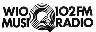 """WIOQ - Early Q102 logo with the """"Musicradio"""" slogan"""