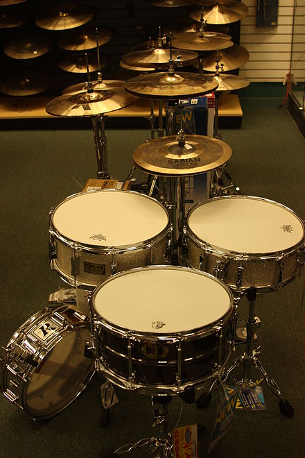 Foreground: Snare drums. Midground: Hi-hat cymbals. Background: Ride/Crash cymbals WTB Hihats Snares.jpg