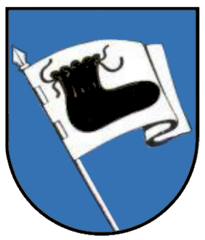 Baltringen - Coat of arms of Baltringen showing the Bundschuh symbolizing the rising and advance of the peasant (Bundschuh movement)