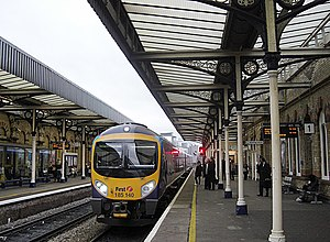 Warrington Central railway station - First TransPennine Express Class 185 ''Desiro'' unit no. 185140 calls at Warrington Central with a service from Liverpool Lime Street to Scarborough in December 2008