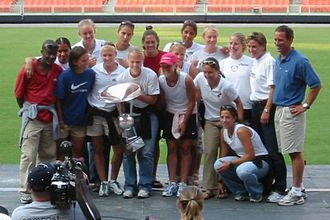 Washington Freedom - Washington Freedom players and coaches pose with the Founders Cup at RFK Stadium after winning the 2003 WUSA championship