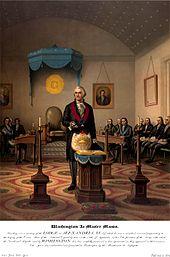 Washington é mostrado presidindo como Mestre Mason em uma reunião da Loja.