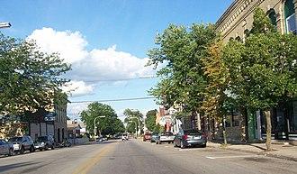 Waterloo, Wisconsin - Downtown Waterloo on Highways 89/19, part of the Waterloo Downtown Historic District.