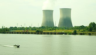 Rhea County, Tennessee - The cooling towers of Watts Bar Nuclear Generating Station, with the Tennessee River in the foreground