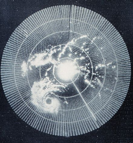 Brightness can indicate reflectivity as in this 1960 weather radar image (of Hurricane Abby). The radar's frequency, pulse form, polarization, signal processing, and antenna determine what it can observe. Weather radar.jpg