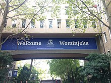 Building signage says Welcome - Wominjeka