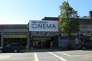 West Newton, Massachusetts - The West Newton Theater in the heart of West Newton village